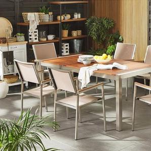 Gartenmöbel Set Eukalyptusholz 180 cm 6-Sitzer Textilbespannung beige GROSSETO