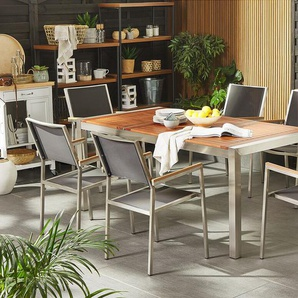 Gartenmöbel Set Eukalyptusholz 180 cm 6-Sitzer Textilbespannung grau GROSSETO