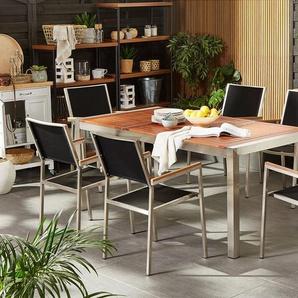 Gartenmöbel Set Eukalyptusholz 180 cm 6-Sitzer Textilbespannung schwarz GROSSETO
