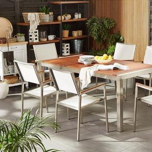 Gartenmöbel Set Eukalyptusholz 180 cm 6-Sitzer Textilbespannung weiß GROSSETO