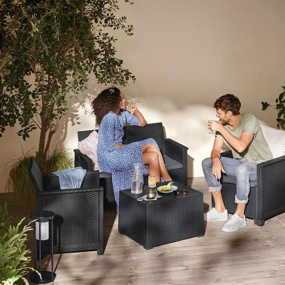 Gartenmöbel-Set »Geflecht-Optik« - dunkelgrau - Wolle -