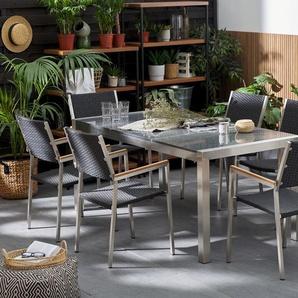 Gartenmöbel Set Granit grau poliert 180 x 90 cm 6-Sitzer Stühle Rattan GROSSETO