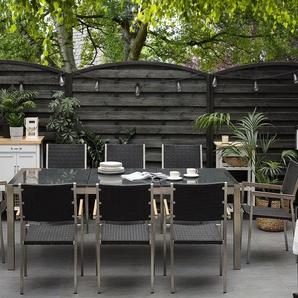 Gartenmöbel Set Granit grau poliert 220 x 100 cm 8-Sitzer Stühle Rattan GROSSETO