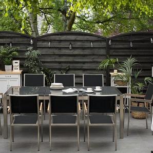 Gartenmöbel Set Granit grau poliert 220 x 100 cm 8-Sitzer Stühle Textilbespannung GROSSETO