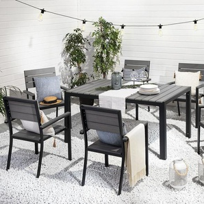 Gartenmöbel Set Kunstholz grau 6-Sitzer COMO