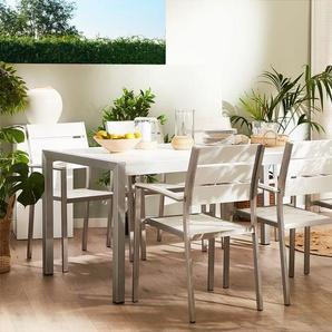 Gartenmöbel Set Kunstholz weiss 6-Sitzer VERNIO
