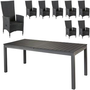 Gartenmöbel-Set Las Vegas XXL/Rio Grande (90x200/260, ausziehbar, 8 Stühle)