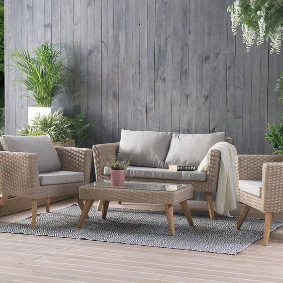 Gartenmöbel Set Rattan braun / grau VITTORIA