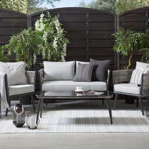 Gartenmöbel Set Rattan grau/schwarz PREVEZA