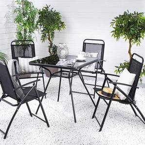 Gartenmöbel Set Stahl schwarz 4-Sitzer LIVO