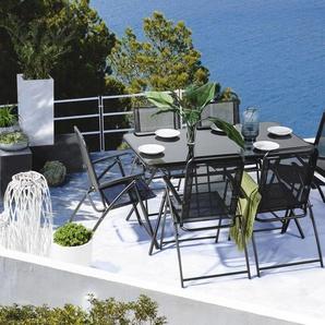 Gartenmöbel Set Stahl schwarz 6-Sitzer LIVO