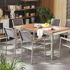 Gartenmöbel Set Teakholz 180 cm 6-Sitzer Textilbespannung grau GROSSETO