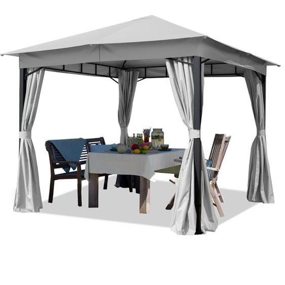 Gartenpavillon 3x3m 180g/m² Dachplane wasserdicht Pavillon - 4 Seitenteile Gartenzelt hell grau Partyzelt 6x6cm Profil