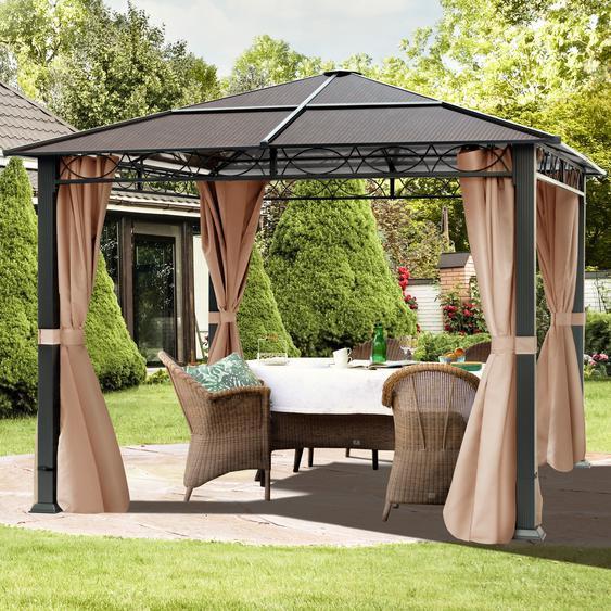Gartenpavillon Hardtop Rendezvous Deluxe cappuccino, 3x3m