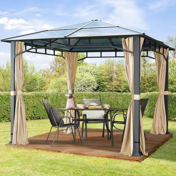 Gartenpavillon Hardtop Sunset Deluxe champagner, 3x3m