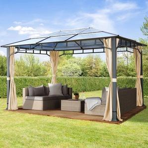 Gartenpavillon Hardtop Sunset Deluxe champagnerfarben, 3x4m