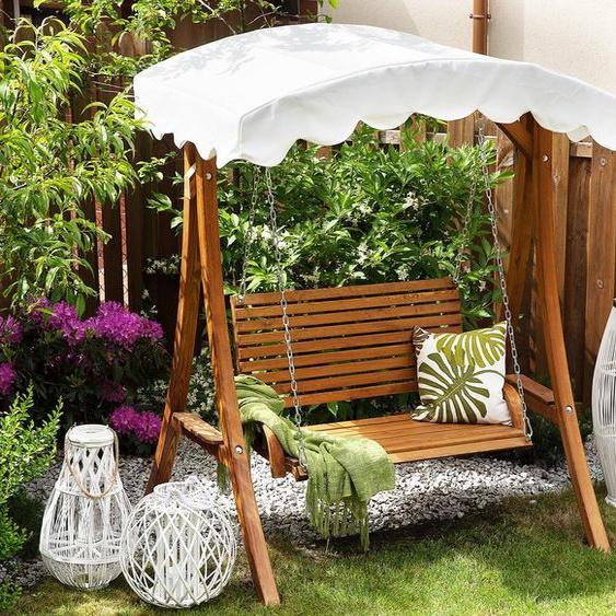 Gartenschaukel Lärchenholz dunkelbraun Sonnendach beige ANDRIA