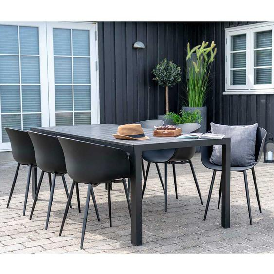 Gartensitzgruppe in Grau und Schwarz Kunststoffstühlen (siebenteilig)