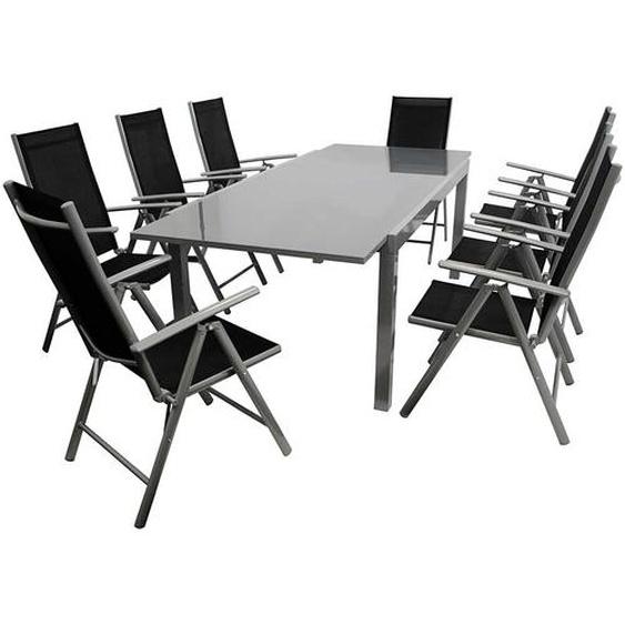 Gartensitzgruppe in Schwarz und Grau klappbaren Stühlen (9-teilig)