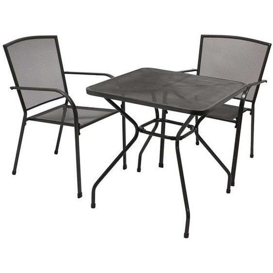 Gartensitzgruppen in Anthrazit Aluminium und Stahl (3-teilig)
