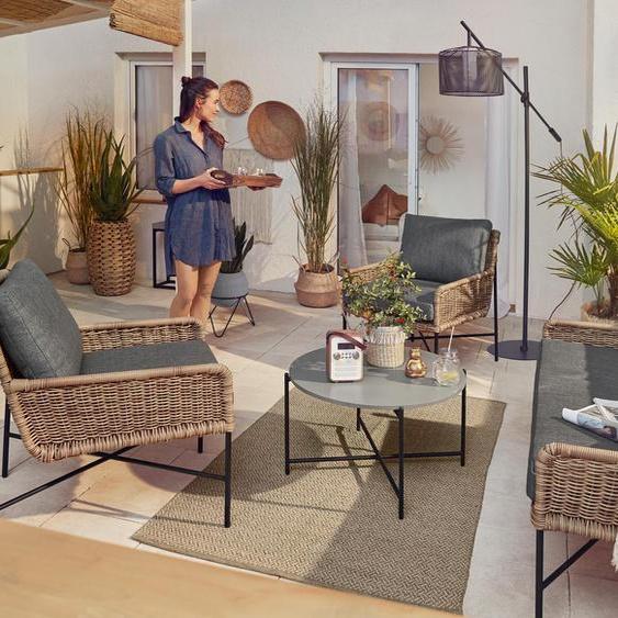 Gartensofa-Set in Bambusoptik - schwarz -