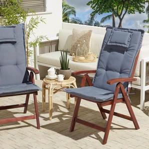 Gartenstuhl 2er Set Akazienholz mit Auflagen blau TOSCANA