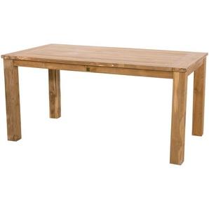 Gartentisch aus recycelten Teakholz mit Säulenfüßen, Maße: B/H/T ca. 180/76/90 cm