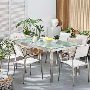 Gartentisch Crashglas 180 x 90 cm einteilige Tischplatte GROSSETO