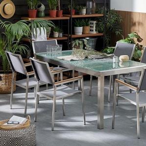 Gartentisch Crashglas 180 x 90 cm geteilte Tischplatte GROSSETO