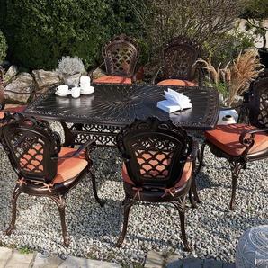 Gartentisch dunkelbraun Aluminium 102x165 cm LIZZANO