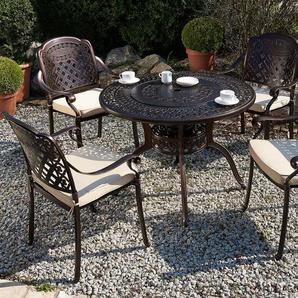 Gartentisch dunkelbraun Aluminium Ø105 cm MANFRIA