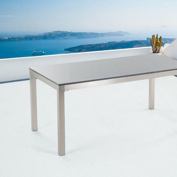 Gartentisch Edelstahl/Granit grau poliert 180 x 90 cm einteilige Tischplatte GROSSETO