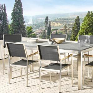 Gartentisch Edelstahl/Naturstein schwarz geflammt 180 x 90 cm einteilige Tischplatte GROSSETO