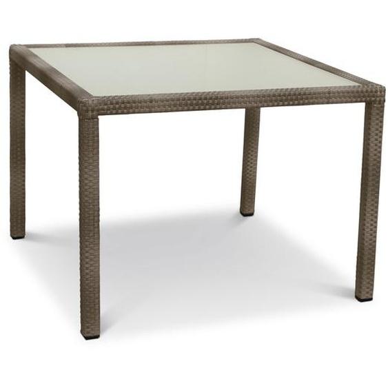Gartentisch, Hellgrau, Polyrattan 100 x 100 cm