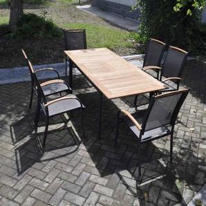 Gartentisch mit einem Gestell aus Aluminium in anthrazit und einer Teakholz Tischplatte, ausziehbar, Maße: B/H/T ca. 152-210/75,5/89 cm
