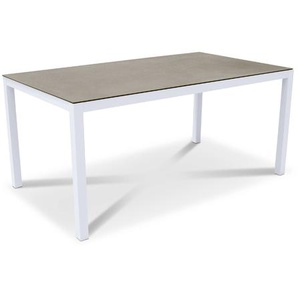 Gartentisch, Weiß, Aluminium
