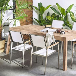 Gartentisch zertifiziertes Holz braun 210 x 90 cm LIVORNO