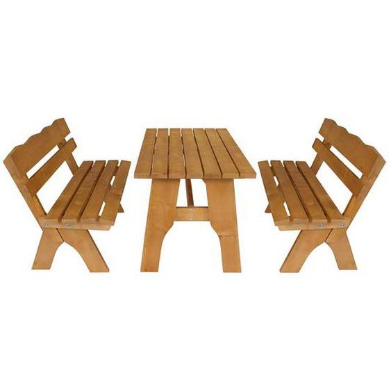 Gartentischgruppe aus Kiefer Massivholz mit Bänken (3-teilig)