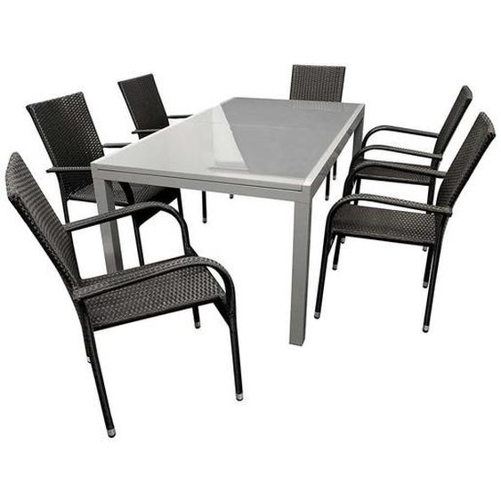 Gartentischgruppe in Grau und Schwarz großem Glastisch (7-teilig)