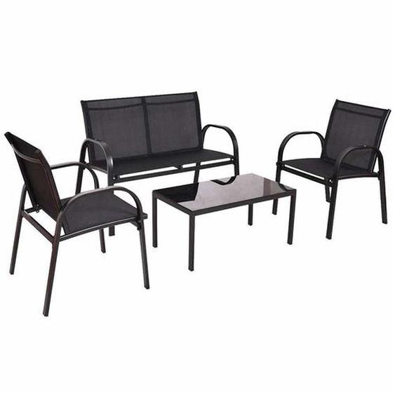 Gartentischgruppe in Schwarz modern (4-teilig)