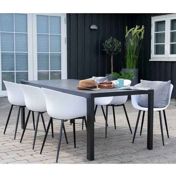 Gartentischgruppe in Weiß und Schwarz Kunststoff Stühlen (7-teilig)