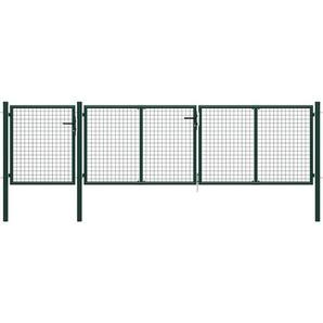 Gartentor Stahl 400 x 100 cm Grün - VIDAXL