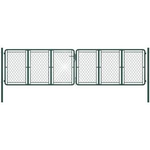 Gartentor Stahl 400 x 125 cm Grün - VIDAXL