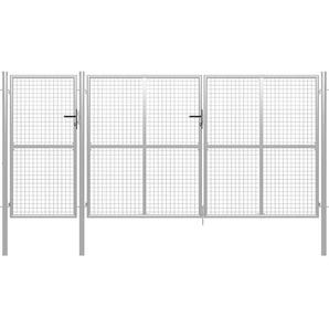Gartentor Stahl 400 x 175 cm Silbern - VIDAXL