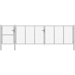 Gartentor Stahl 500 x 125 cm Silbern - VIDAXL