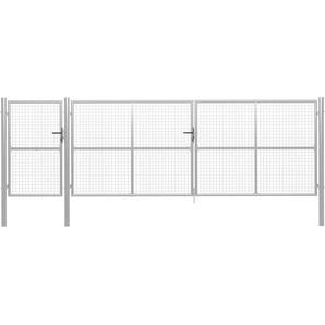Gartentor Stahl 500×150 cm Silbern - VIDAXL