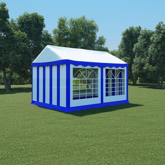 Gartenzelt PVC 3x4 m Blau und Weiß