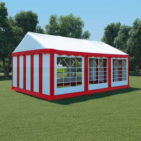 Gartenzelt PVC 4x6 m Rot und Weiß