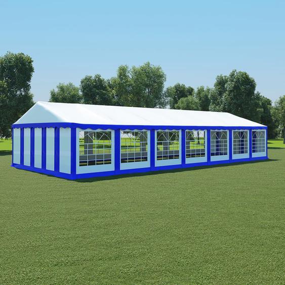 Gartenzelt PVC 6x14 m Blau und Weiß