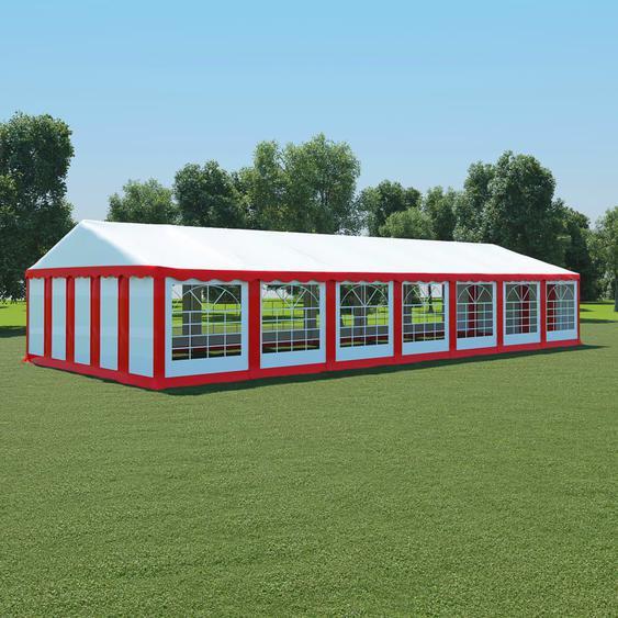 Gartenzelt PVC 6x14 m Rot und Weiß